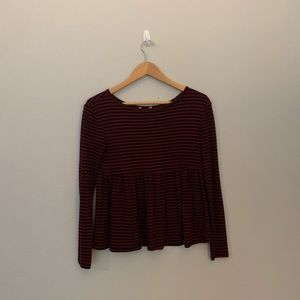 red and black stripped basic long sleeve